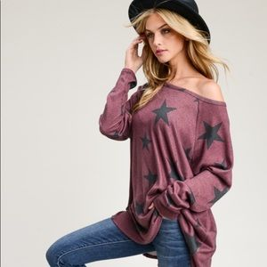 Tops - Eggplant colored star long sleeved top